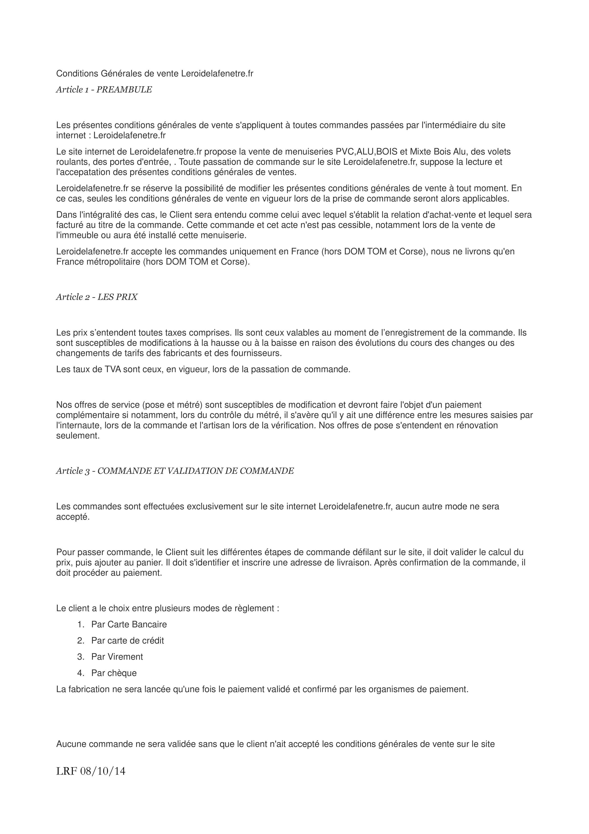 Conditions Generales De Vente Leroidelafenetre Fr