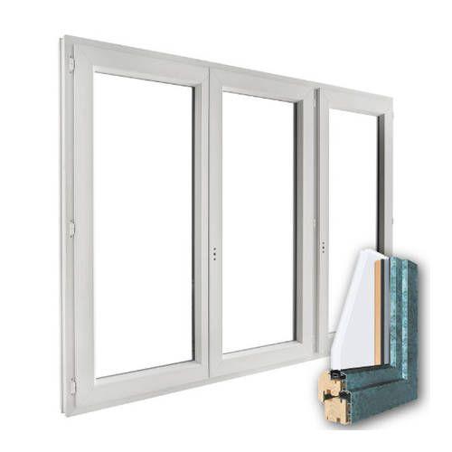 Fenêtre mixte BOIS/ALU 3 vantaux ouverture à la française
