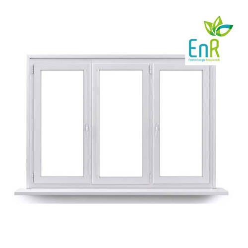Fenêtre PVC EnR 2 vantaux ouverture à la française avec un latéral fixe