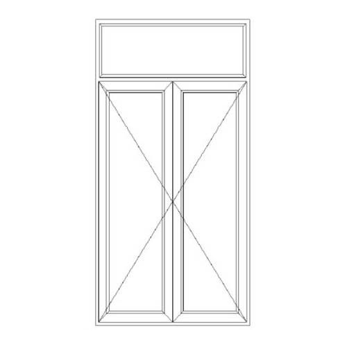 Porte fenêtre PVC 2 vantaux ouverture à la française avec imposte fixe