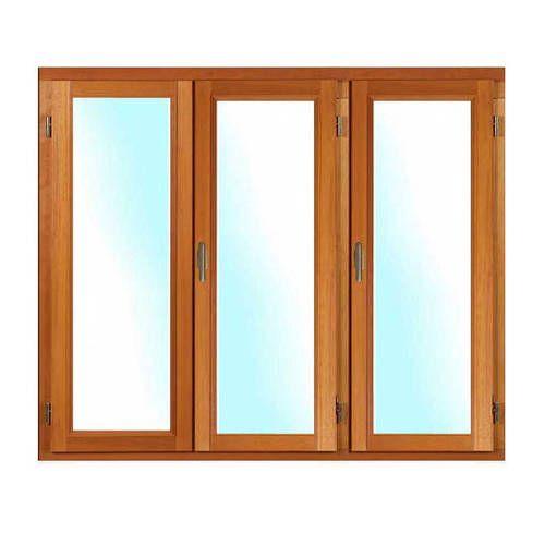 Porte fenêtre BOIS à recouvrement 3 vantaux ouverture à la française