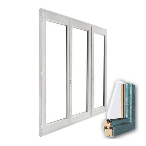 Porte fenêtre mixte BOIS/ALU 3 vantaux ouverture à la française