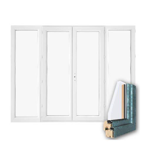 Porte fenêtre mixte BOIS/ALU 4 vantaux ouverture à la française