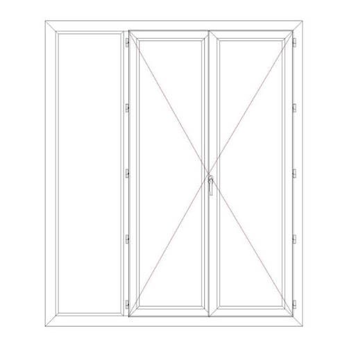 Porte fenêtre PVC 2 vantaux ouverture à la française avec un latéral fixe