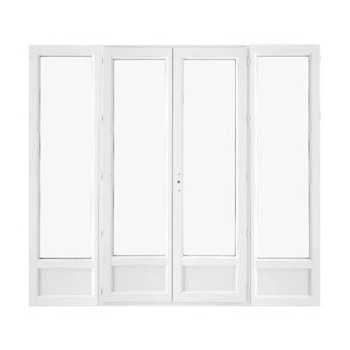 Porte fenêtre PVC 2 vantaux ouverture à la française soubassement avec un latéral fixe de chaque coté