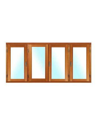 Fenêtre BOIS à recouvrement 4 vantaux ouverture à la française