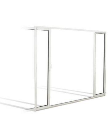 Fenêtre à galandage coulissante en ALU 2 vantaux bi-rail