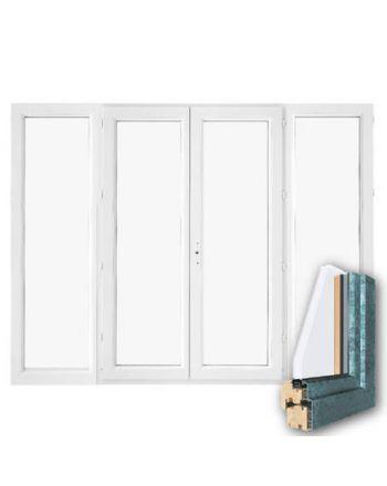 Fenêtre mixte BOIS/ALU 4 vantaux ouverture à la française
