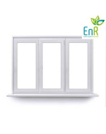 Fenêtre PVC EnR 1 vantail ouverture à la française avec un latéral fixe de chaque coté
