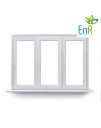 Fenêtre PVC EnR 2 ouvrants à 1 vantail ouverture à la française avec un fixe central