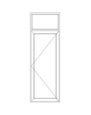 Porte fenêtre PVC EnR 1 vantail ouverture à la française avec imposte fixe