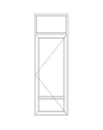 Porte fenêtre PVC 1 vantail ouverture à la française soubassement avec imposte fixe
