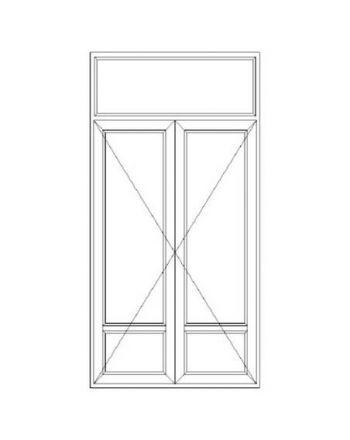 Porte fenêtre PVC 2 vantaux ouverture à la française soubassement avec imposte fixe