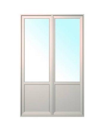 Porte fenêtre ALU ouvrant tradi 2 vantaux ouverture à la française avec soubassement