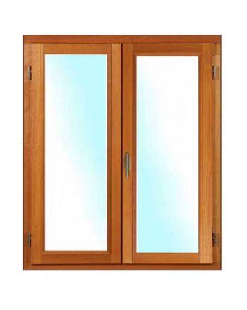 Porte fenêtre BOIS à recouvrement 2 vantaux ouverture à la française