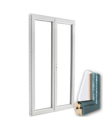 Porte fenêtre mixte BOIS/ALU 2 vantaux ouverture à la française