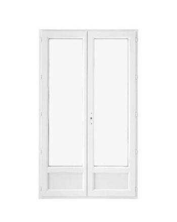 Porte fenêtre PVC 2 vantaux ouverture à la française avec soubassement