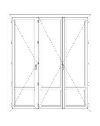 Porte fenêtre PVC 3 vantaux ouverture à la française avec soubassement
