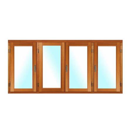 Fenêtre BOIS à Mouton et Gueule de Loup 4 vantaux ouverture à la française