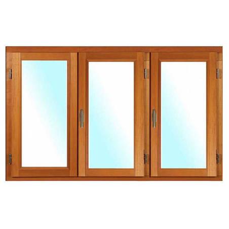 Fenêtre BOIS à recouvrement 3 vantaux ouverture à la française avec pose