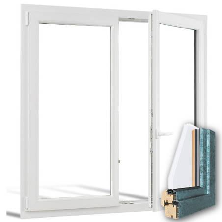Fenêtre mixte BOIS/ALU 2 vantaux ouverture à la française avec pose
