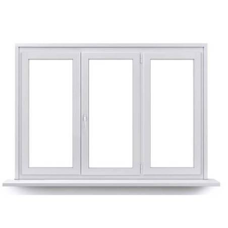 Fenêtre PVC 1 vantail ouverture à la française avec un latéral fixe de chaque coté