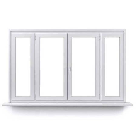 Fenêtre PVC 2 vantaux ouverture à la française avec un latéral fixe de chaque coté