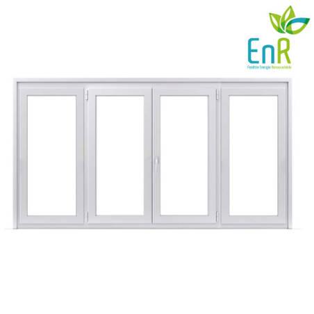 Fenêtre PVC EnR 2 vantaux ouverture à la française avec un latéral fixe de chaque coté
