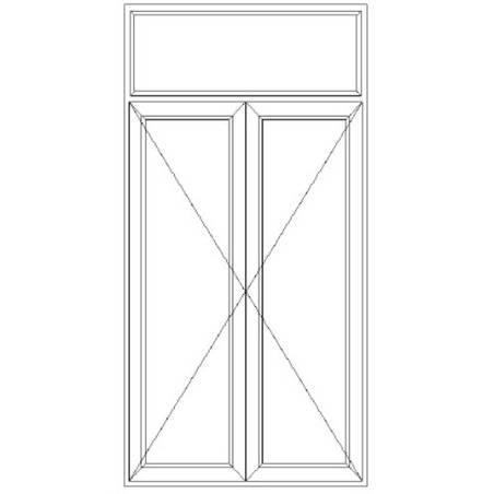 Porte fenêtre PVC EnR 2 vantaux ouverture à la française avec imposte fixe
