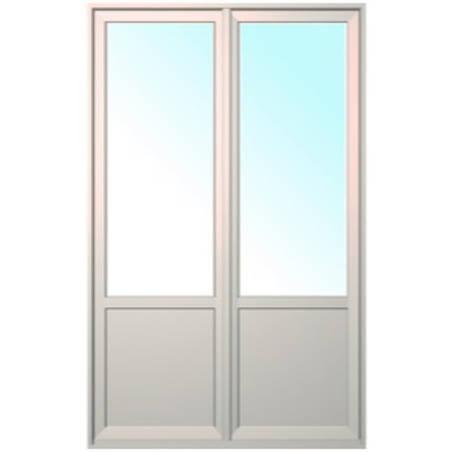 Porte fenêtre ALU ouvrant caché 2 vantaux ouverture à la française avec soubassement