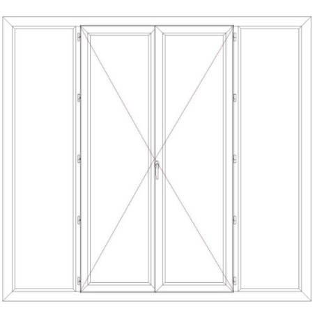 Porte fenêtre PVC 2 vantaux ouverture à la française avec un latéral fixe de chaque coté