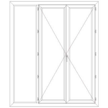 Porte fenêtre PVC EnR 2 vantaux ouverture à la française avec un latéral fixe